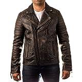Camisa de piel auténtica para hombre, color marrón: Amazon.es ...