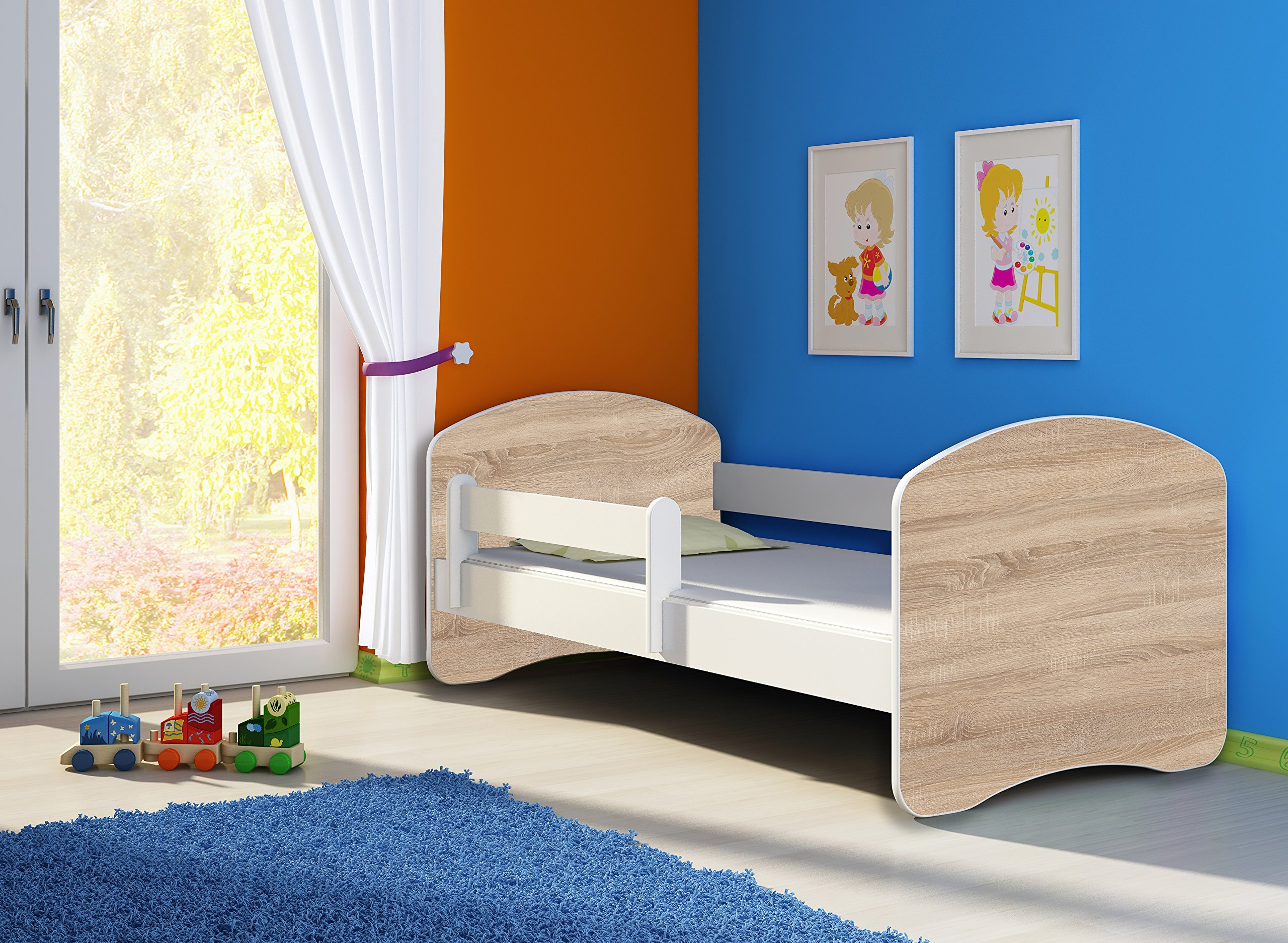 ACMA II TODDLER CHILDREN KIDS BED + FREE MATTRESS DRAWER WHITE 140x70 160x80 180x80 (140x70 cm, White - Sonoma Wood) ACMA Dimensions : 144 cm x 75 cm x 62 cm For safety all the edges of the bed are covered with a special PCV material The bed is proper for kids up to 100 kg 2