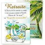 afie 69-3934 Pop Up Card Happy Retirement - Palm Trees Sea Sun Beach Holiday