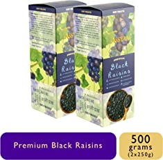 Tassyam Premium Seedless Black Afghan Raisins 500g (2X 250g) Kali Draksh | Healthy Dry Fruits Luxury Box