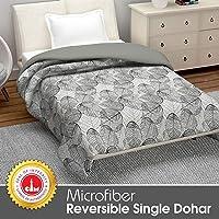 Divine Casa Basic Floral Microfibre Single Dohar - Grey and Jet Black