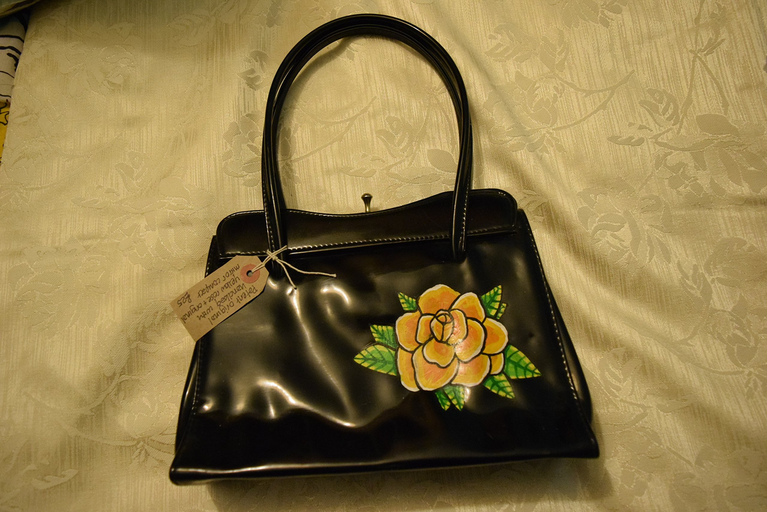 Gorgeous Black Patent Vintage Handbag hand-painted with a Yellow Rose - handmade-bags