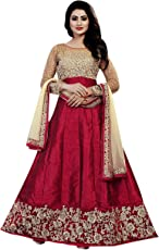 Khileshwai Fashion women's's Maroon Bangalory Silk Embroidered Anarkali Suit for (kr26)