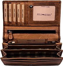 Hill Burry hochwertige Geldbörse | aus weichem Vintage Leder - Langes Portemonnaie - Kreditkartenetui