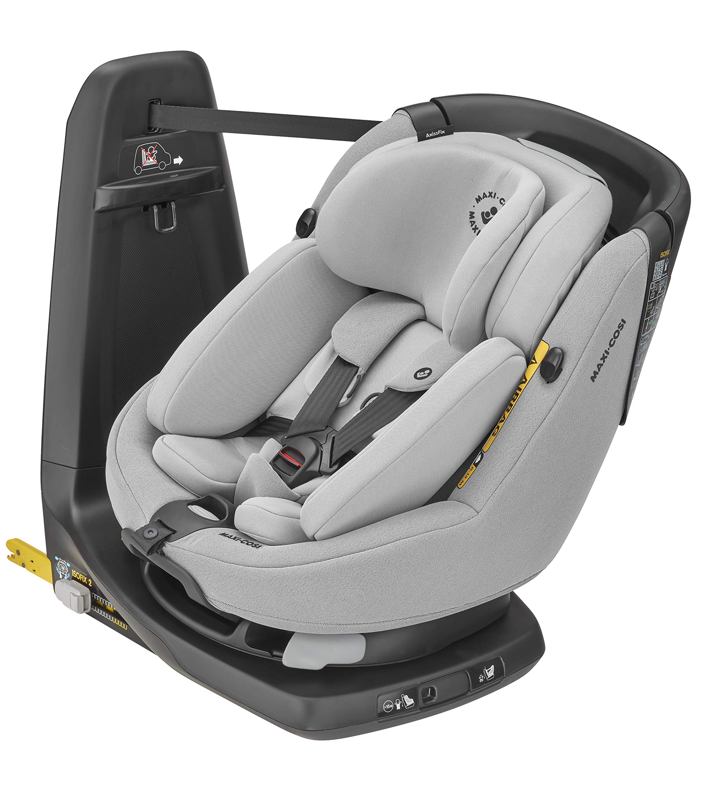 Maxi-Cosi Axissfix Plus Convertible Car Seat, Swivel Car Seat, Suitable from Birth, 0 Months - 4 Years, 45-105 cm,Authentic Grey Maxi-Cosi Convertible car seat from baby to toddler, suitable from birth up to 4 years (45 - 105 cm) 360° swivel car seat, allows you to get your child in and out the seat in seconds I-size (r129) car seat legislation, because of improved side protection and extended rearward-facing travel 1