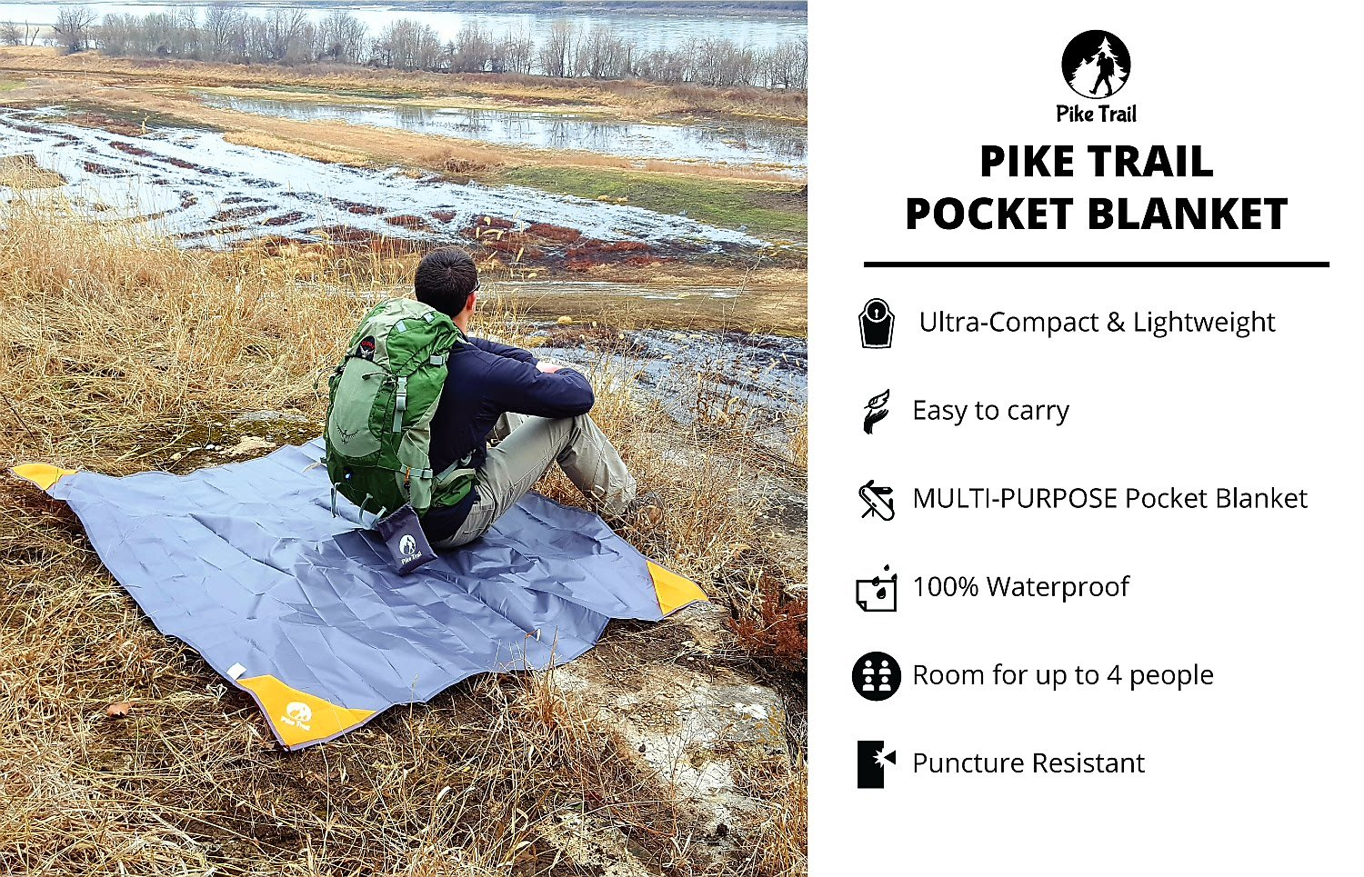 Pike Trail Pocket Blanket – Waterproof, Lightweight and Durable Tarpaulin for Outdoors – 152 x 142cm 6