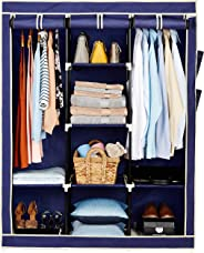 Amazon Brand - Solimo 3-Door Foldable Wardrobe, 8 Racks, Navy Blue