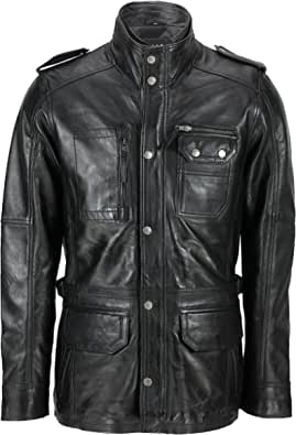 Xposed Mens Soft Washed Real Leather Vintage Smart Casual Military Style Field Jacket in Tan & Brown
