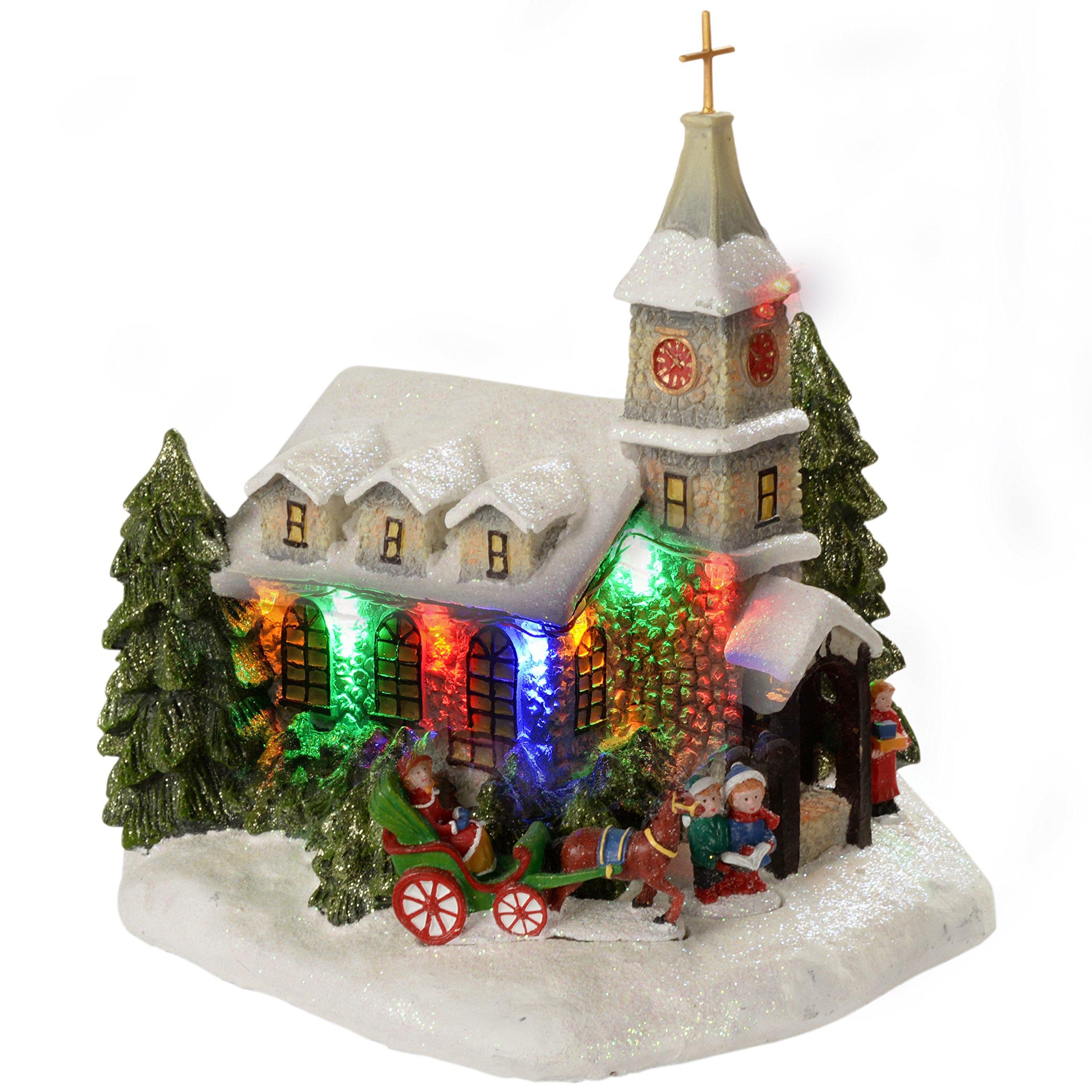 WeRChristmas Pre-Lit 23 cm in poliresina, motivo: chiesa, illuminata da luci a LED