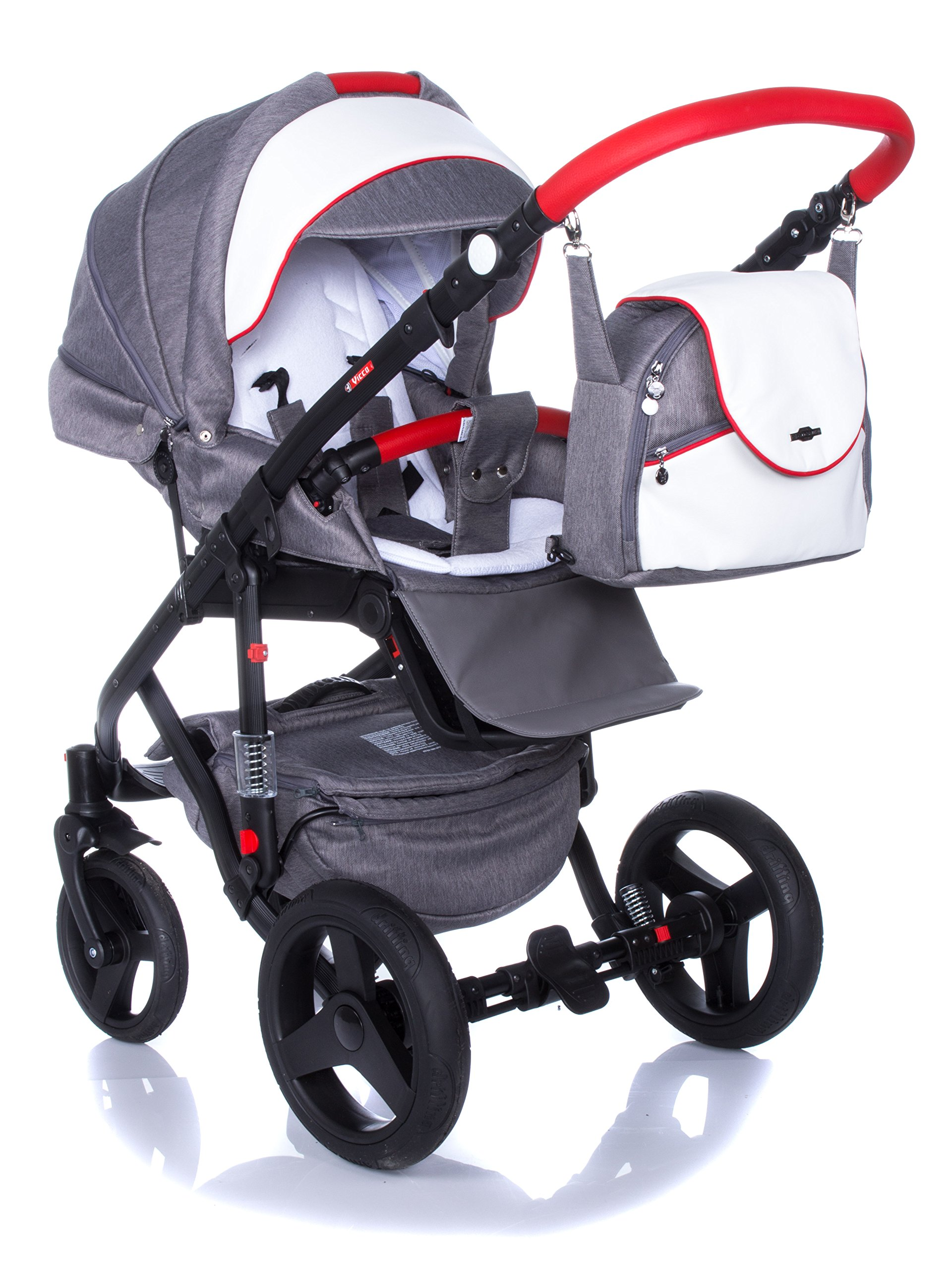 Baby Pram Pushchair Stroller Buggy Travel System Set Adamex Vicco + Baby Bag + Rain Cover + Mosquito Net + (2in1, R2 Red Graphite) Adamex Lockable swivel wheels and lockable side suspension system Light alluminium chassis with gel wheels 50% Ecco Leather and 50% Polyester shell 9