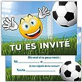 Lot de 12 Cartes d'invitation pour Anniversaire, Partie, fête Cartons d'invitation en Français Motif Football Sport