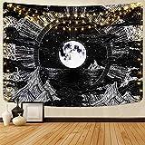 Alishomtll Moon and Star Tapestry psychedelic Moon Mountain Tapestries Star Tapestry Black Decor Natural Tapestries Wall Hang
