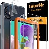UniqueMe [2 Pack] Cristal Templado para Samsung Galaxy A51 4G / 5G y [2 Pack] Protector de Lente de cámara para Samsung Galax