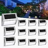 [12 PACK] Upgraded Solar Garden Lights 4 LED Easternstar, Solar Step Deck Lights Outdoor Waterproof Stainless Steel Wireless