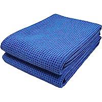 Polyte - 2 Serviettes de séchage en Microfibres Elite - Tissage alvéolé - Bleu - 63 x 91 cm