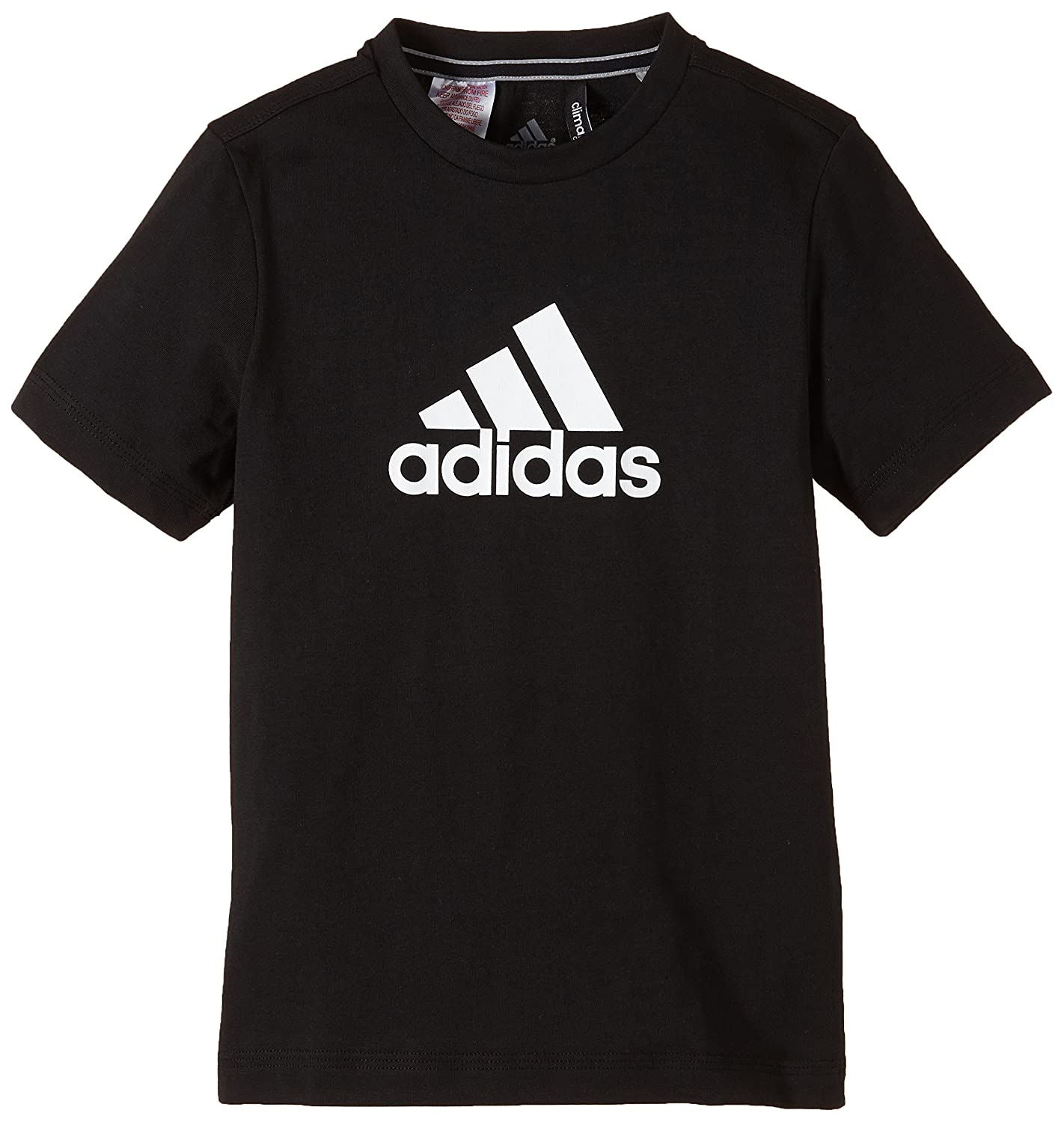 Adidas t shirt black white - Adidas Ess Logo Boys T Shirt Black White Size 128 Amazon Co Uk Sports Outdoors