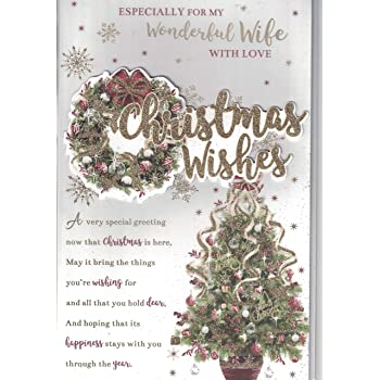 Wife christmas card for my very special wife happy christmas with wife christmas card christmas wishes to my very special wife with love traditional christmas tree large card m4hsunfo