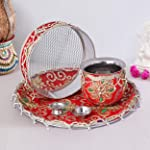 TIED RIBBONS Karwachauth Pooja thali Set (Decorated Thali, Kalash, Channi) - Karwa chauth Thali Gift Set