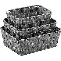 Kela Lot de 3 Corbeilles de rangement, Alvaro, Rubans de fibres plastiques, Tailles variées, 323027, Gris