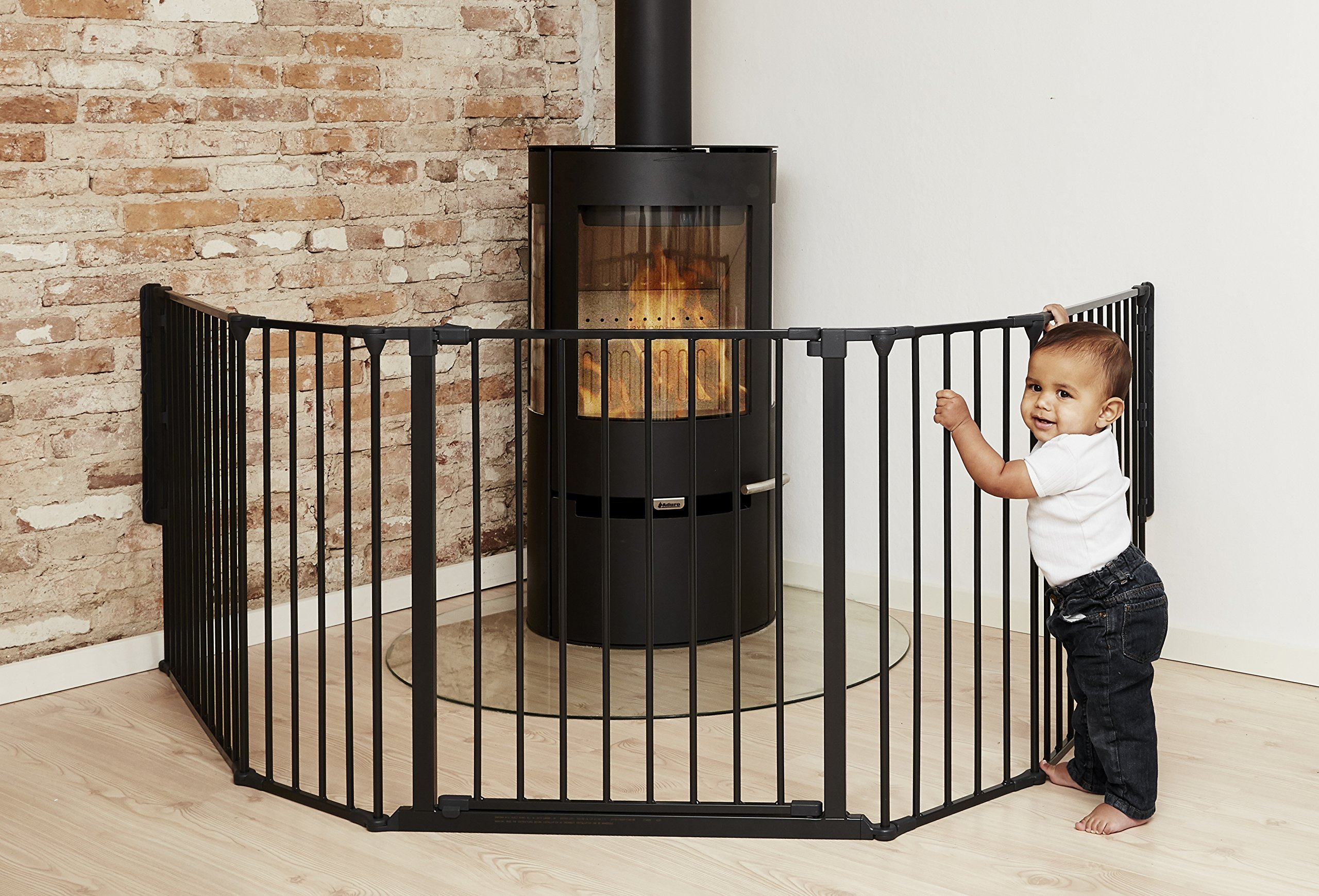 BabyDan Hearth Gate/Room Divider (Extra Large, 90-278cm, Anthracite)  Only configure system fulfilling newest european safety standard Multi purpose hearth gate and room divider There are 5 panels in total, 1 larger 72cm gate section panel, 2 larger 72cm panels and 2 smaller 33cm side panels. For shipping purposes, the 2 smaller side panels are connected by the interlocking pole 2