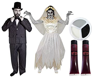 c3bf895a2ec COUPLES DEAD BRIDE   GROOM HALLOWEEN FANCY DRESS COSTUME - MENS PINSTRIPE  SUIT WITH TOP HAT   BOWTIE + LADIES WHITE WEDDING DRESS + MATCHING VEIL  WITH FAKE ...