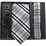 Axlon Men Formal/Casual Jacquard Neck Tie Pocket Square Accessory Gift Set with Cufflinks and Brooch Pin - Grey (Free Size)