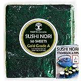 Hojas de algas marinas Sushi Nori horneadas a Septiembre de 2021 - Granja familiar de Corea del Sur (50 hojas completas) Grad