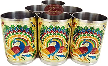 """Lavender Craft ROYAL PEACOCK DESIGNED STAINLESS STEEL MEENAKARI 6-GLASS SET -G.M. (2.5"""" x 2.5"""" x3.67"""" INCHES)"""