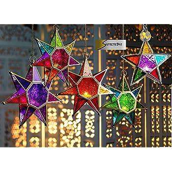 Hanging Blue Tea Light with patterned design