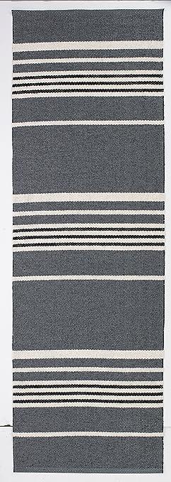 Kunstfaser-Teppich TRAIL schwarz/grau - geeignet für Küche, Bad ...