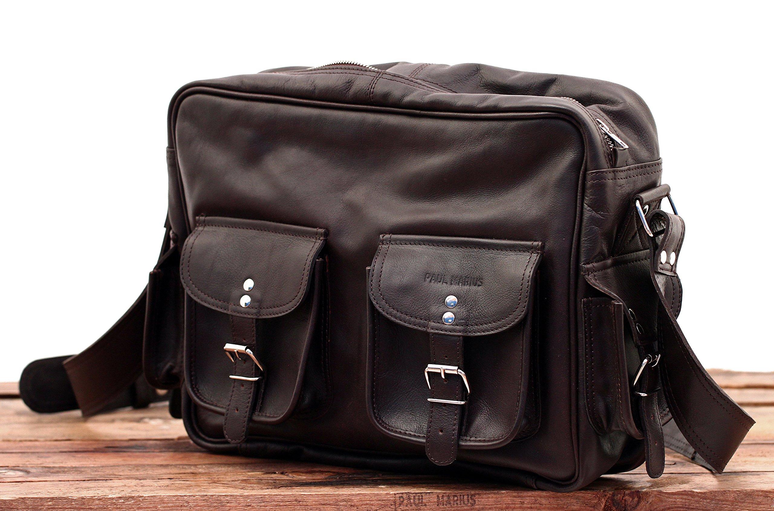 91ZzX1oNNEL - PAUL MARIUS LE MULTIPOCHES INDUS, Bolso bandolera de cuero, estilo vintage, bandolera de cuero, bolso con bolsillos…