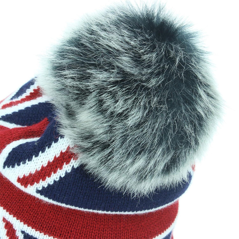 050c014106c05 Macahel Union Jack Bobble Beanie Hat With Faux Fur Bobble - Grey   Amazon.co.uk  Clothing