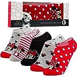 Disney Sneaker Socken Damen Bunt, 5 Paar Minnie Mouse Socken, Füßlinge Damen Set, 36-40