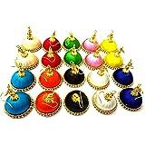 GOELX Hot Silk Threads Jhumki Combo Set with Rhinestone Embellishments for Women (Multicolour)