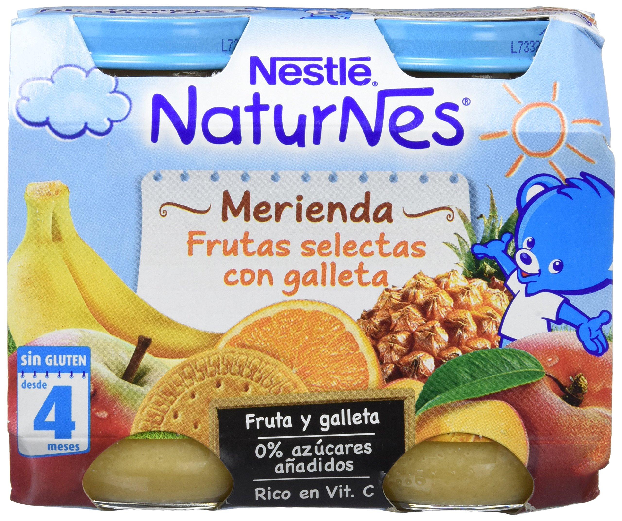 Nestlé Naturnes Merienda Frutas Selectas con Galleta - Paquete de 6 x 2 unidades de 200 g - Total: 2