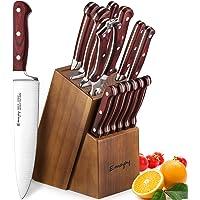 Emojoy Bloc de Couteaux, Set de Couteaux de Cuisine 15 Pièces, Ensemble de Couteaux Professionnels en Acier Inoxydable…