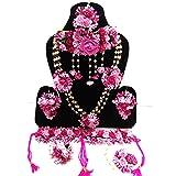 Naazz Flower Jewellery Set for Haldi Baby Shower Mehendi Godbharai Pink Paper Set for Women and Girls