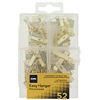 Coral 81400 Easy Hanger Assorted Picture Kit for Wall Art and Mirrors with 4 Hook Sizes 52 Piece Pack Set, Gold, Set of…