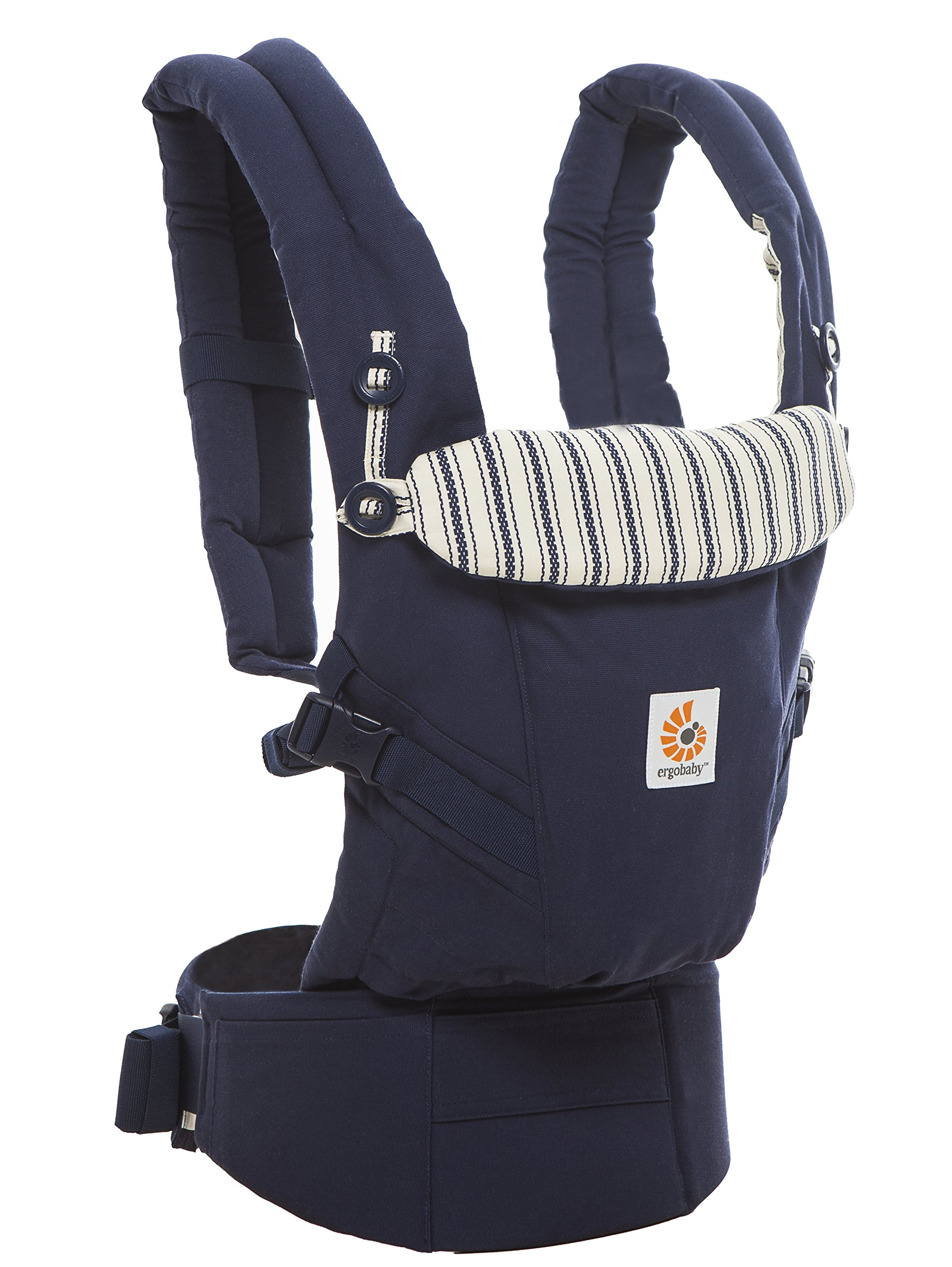 Ergobaby Baby Carrier for Newborn to Toddler, Admiral Blue Adapt 3-Position Ergonomic Child Carrier Backpack Ergobaby Carrier for newborns - The ergonomic bucket seat gradually adjusts to your growing baby, to ensure baby is seated in a natural frog-leg position (M-shape position) from newborn to toddler (3.2-20 kg / 7-45 lbs). NEW - Now with lumbar support. Long-wearing comfort for parents with even weight distribution between hips and shoulders. Lumbar support waistbelt that can be adjusted to the height of the carry position for extra, long-wearing comfort. 3 carry positions: front-inward, hip and back. The carrier has a padded, foldable head and neck support and a tuck-away baby hood for sun protection (UPF 50+) and privacy. It is possible to breastfeed in the carrier. 3