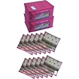 HomeStrap Combo of Cotton Quilted Saree Cover with Window & Single Saree Cover- Pink- Set of 14
