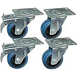 4 stuks transportwielen in een set van 80 mm, blauwe wielen, wielen met rem van het merk HRB, zware wielen met max. 520 kg to