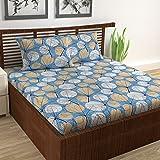 Divine Casa 100% Cotton 144 TC Floral Double Bedsheet Cotton with 2 Pillow Covers - Blue