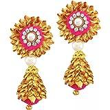 BLENT#63 Pink Gota Patti Flower Jewellery Jhumki Earrings for Women/Kids/Girls/Bride/Bridal/Wedding/Haldi/Mehandi (Handmade L