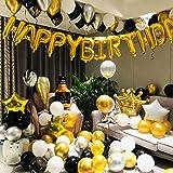 Micacorn Decoraciones de Fiesta de Cumpleaños de Lujo 110 piezas con Pancarta de Feliz Cumpleaños en Oro Metálico, Globos de