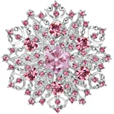 EVER FAITH Spilla Cristallo Austriaco Elegante Fiore Grappolo Foglia Spilla Argento-Fondo