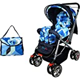 BabyGo Delight Reversible Baby Stroller & Pram with Mosquito Net, Mama Diaper Bag & Wheel Breaks (Sky Blue)