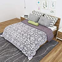 Rustik Craft Hand Made Pure Cotton Vintage Style White Applique Cut Work Bed Sheet/Spread Quilt Spread Throw Tapestry (Size: 90 X 108 Inch) for Home Hotel Festive Gifting
