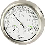 Sunartis THB367 Außenwetterstation mit Edelstahlrahmen und Thermo-, Hygro-, und Barometer ca. Ø 21 x 4 cm