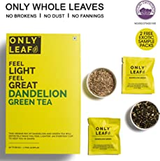 Onlyleaf Dandelion Green Tea, 52 Tea Bags with 2 Free Exotic Samples