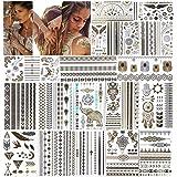 URAQT metallic tatoeages, 20 vellen tijdelijk tattoo-papier met 200 ontwerpen, waterdicht verwijderbaar goud zilver nep siera